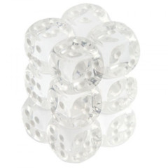 Chessex Dice CHX 23601 Translucent 16mm D6 Clear w/ White Set of 12